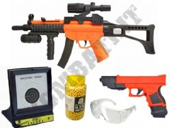 British Police BB Gun Bundle Spring MP5 & Glock Replica + Pellets & Target Set 2 Tone Orange Black